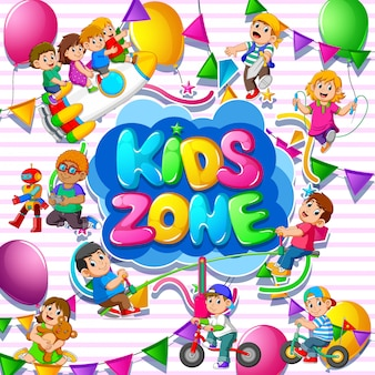Plantilla de zona infantil con niños