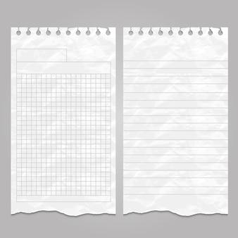 Plantillas arrugadas de páginas rayadas y rotas para notas o notas