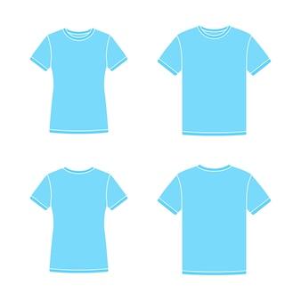 Plantillas azules de camisetas de manga corta