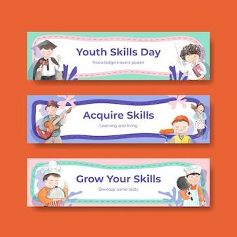 Plantillas de banner con el concepto del día mundial de las habilidades de la juventud, estilo acuarela