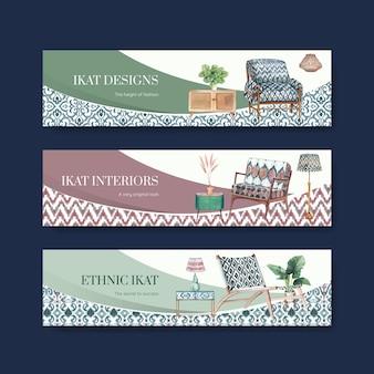 Plantillas de banner con concepto ikat en estilo acuarela