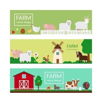 Plantillas de banner de estilo plano de animales de granja