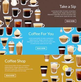 Plantillas de banner horizontal de cafetería con diferentes tazas de café