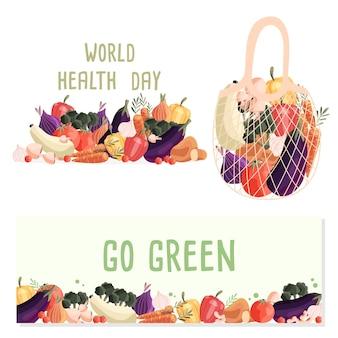 Plantillas de banner horizontal con colección de verduras orgánicas frescas