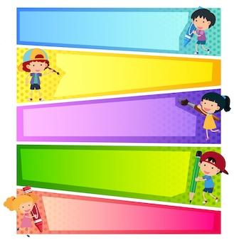 Plantillas de banner con niños felices