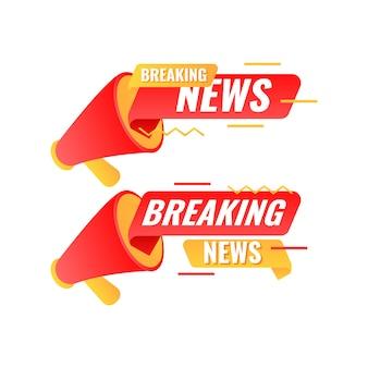 Plantillas de banner de noticias de última hora modernas planas con megáfono