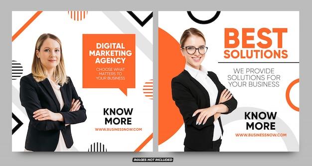 Plantillas de banner de promoción de empresa de solución empresarial