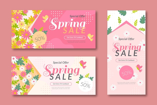Plantillas de banner de rebajas de verano en diseño rosa