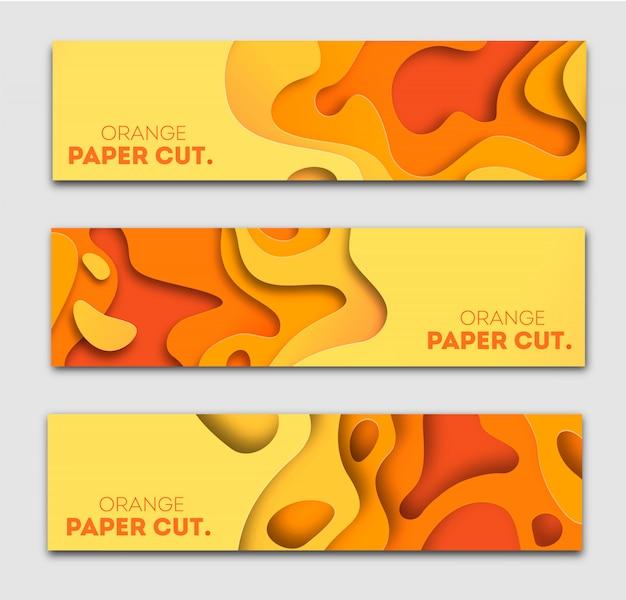 Plantillas de banners con formas de corte de papel naranja. brillante otoño moderno diseño abstracto. ilustración.