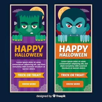 Plantillas de banners de halloween con personajes en diseño plano