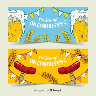 Plantillas de banners del oktoberfest dibujados a mano