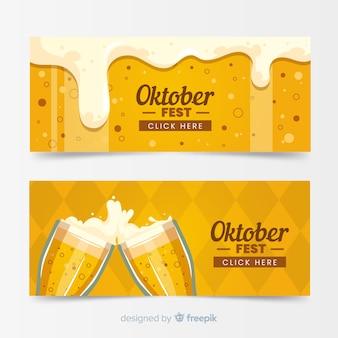 Plantillas de banners del oktoberfest en diseño plano