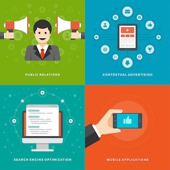 Plantillas de banners de promoción de sitios web y diseño de iconos planos.