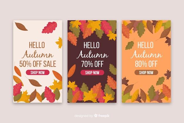 Plantillas de banners de rebajas de otoño en diseño plano