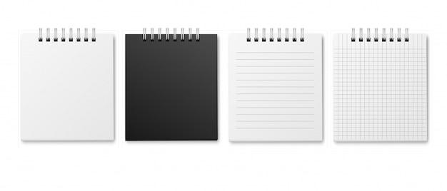 Plantillas de bloc de notas de cuaderno con espiral plateada metálica