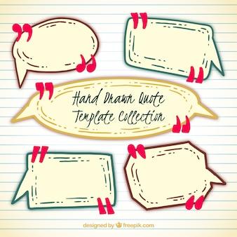 Plantillas de bocadillos de conversación dibujados a mano