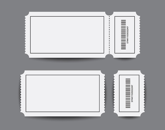 Plantillas de boleto de talón de papel con dos partes.