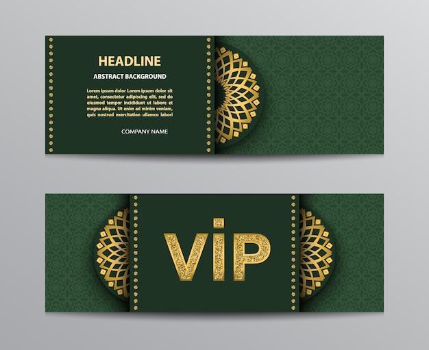 Plantillas de boletos verdes con letrero vip dorado brillante y mandalas.