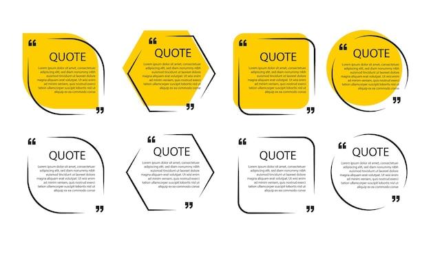 Plantillas de burbujas de discurso y marcos de citas de comunicación.