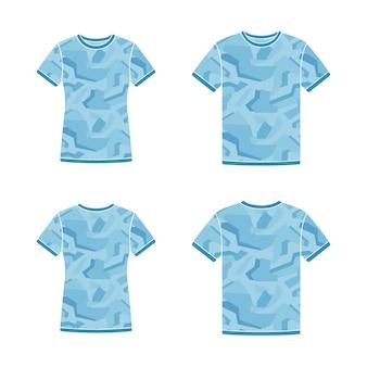 Plantillas de camisetas azules de manga corta con el patrón de camuflaje