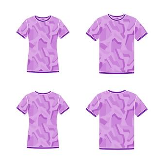 Plantillas de camisetas de manga corta moradas con el patrón de camuflaje