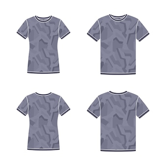 Plantillas de camisetas negras de manga corta con el patrón de camuflaje