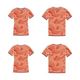 Plantillas de camisetas rojas de manga corta con el patrón de camuflaje
