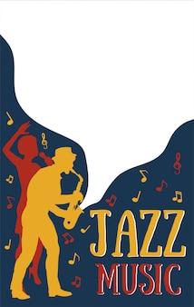 Plantillas de carteles para el festival de música de jazz, concierto con silueta de músicos de jazz y cantante africana.ilustración de estilo retro