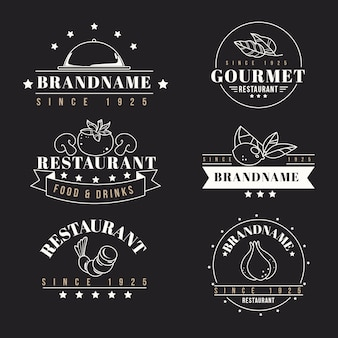 Plantillas de colección de logotipo retro de restaurante