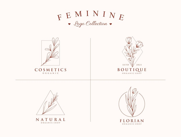 Plantillas de colección de logotipos hermosos y botánicos dibujados a mano
