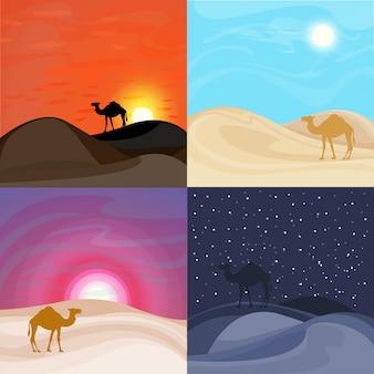 Plantillas coloridas del paisaje del desierto de arena