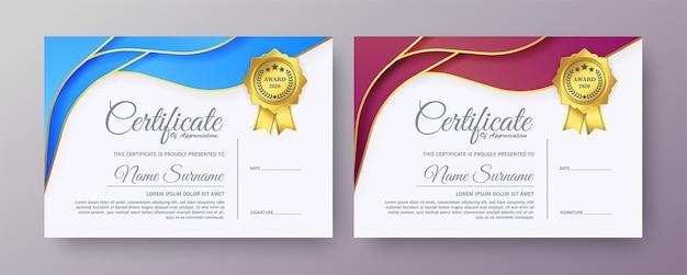 Plantillas creativas de certificado de reconocimiento.