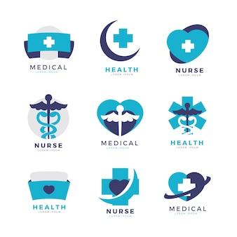 Plantillas creativas de logotipos de enfermeras