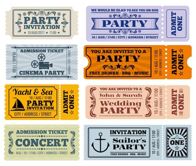 Plantillas de cupones de boletos vintage de entretenimiento, fiesta y cine
