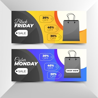 Plantillas de banner de venta de black friday y cyber ​​monday