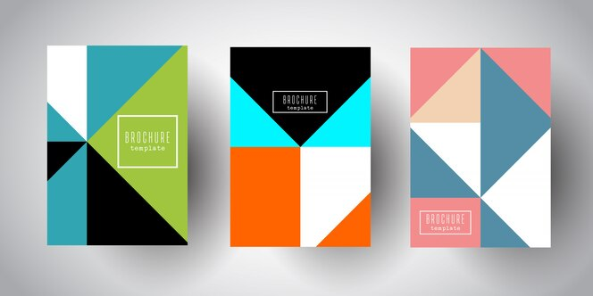 Plantillas de folleto con diseños abstractos de baja poli
