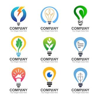 Plantillas de logotipo bulbo, conjunto de logotipo de bulbo