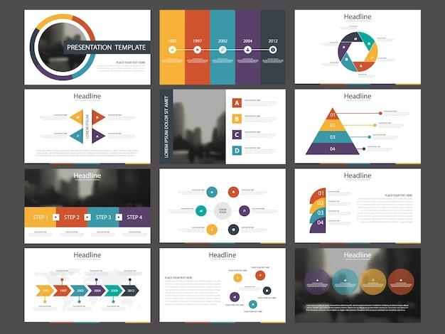 Plantillas de presentación círculo colorido infografía