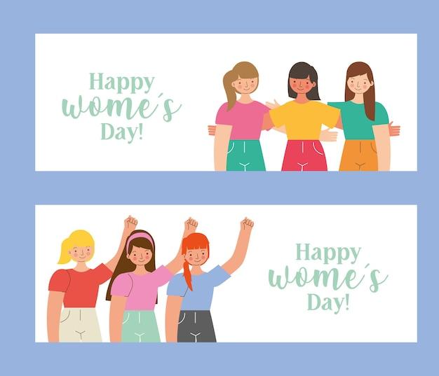 Plantillas del día de la mujer feliz con chicas jóvenes. ilustración
