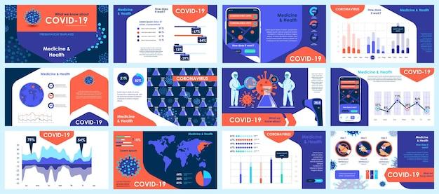 Plantillas de diapositivas de presentación de coronavirus de elementos infográficos