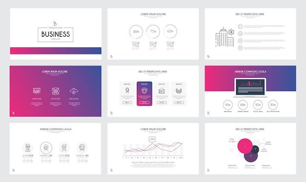 Plantillas de diapositivas de presentación y folletos comerciales.