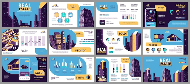 Plantillas de diapositivas de presentación inmobiliaria de elementos infográficos