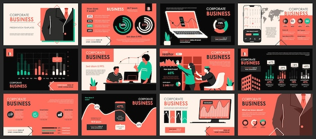 Plantillas de diapositivas de presentación de reuniones de negocios de elementos infográficos
