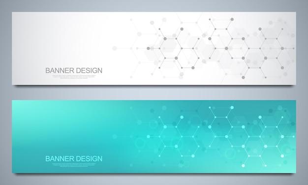 Plantillas de diseño de banner y encabezados para sitio con fondo de estructuras moleculares