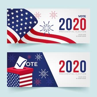 Plantillas de diseño de banners de elecciones presidenciales de ee. uu. 2020