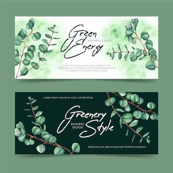 Plantillas de diseño de banners verdes
