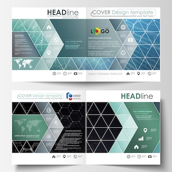 Plantillas para diseño cuadrado bi-fold brochure, revista, flyer.