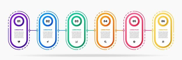 Plantillas de diseño de elementos infográficos con iconos y 6 números