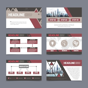 Plantillas de diseño de informes y presentación en papel con elementos abstractos.