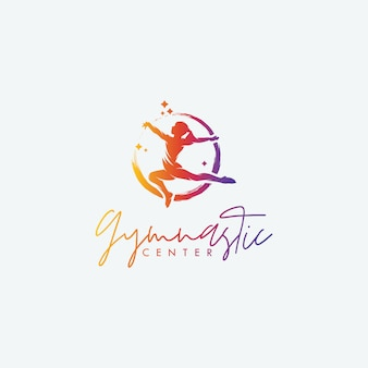 Plantillas de diseño de logotipo del centro de gimnasia